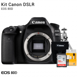 Canon 80D Corpo | Brindes: Bolsa, Cartão 32GB, Mini Tripé e Kit Limpeza