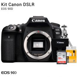 Canon 90D Corpo | Brindes: Bolsa, Cartão 32GB, Mini Tripé e Kit Limpeza
