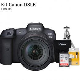 Canon R5 com Lente 24-105mm - Câmera Mirrorless | Brindes: Bolsa, Cartão 32GB, Mini Tripé e Kit Limpeza
