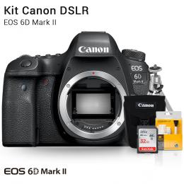 Canon 6D Mark II Corpo | Brindes: Bolsa, Cartão 32GB, Mini Tripé e Kit Limpeza