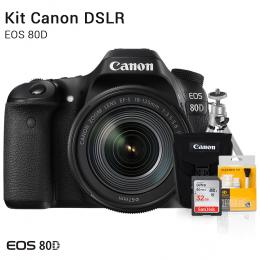 Canon 80D com Lente 18-135mm | Brindes: Bolsa, Cartão 32GB, Mini Tripé e Kit Limpeza