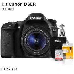 Canon 80D com Lente 18-55mm | Brindes: Bolsa, Cartão 32GB, Mini Tripé e Kit Limpeza
