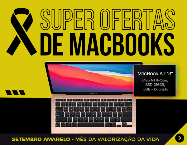 Setembro Amarelo 2021 - MacBook AIr MGND3 Dourado